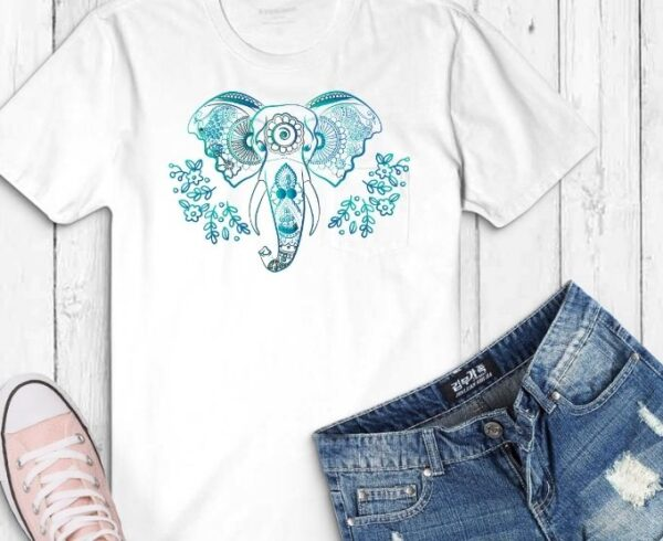 beautiful elephant floral flower line art with nion light effect T-shirt design svg,drawing,drawn,ornament