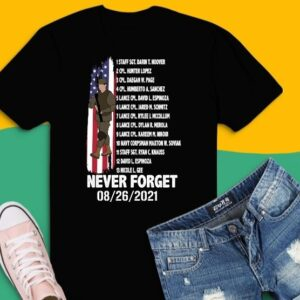 Names Of Fallen Soldiers 13 Heroes Never Forget 08-26-2021 T-Shirt design svg,