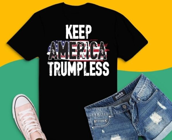 Keep America Without Him Distressed American Flag T-Shirt design
