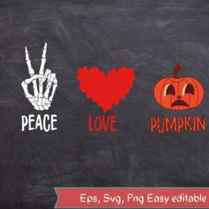 Peace Love Pumpkin Trick Or Treating Scary Halloween T-Shirt design svg